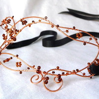 Ladies masquerade mask in copper handmade by gringrimaceandsqueak