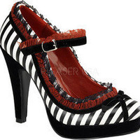 Pin Up Bettie 18 - Black/White PU - Free Shipping & Return Shipping - Shoebuy.com