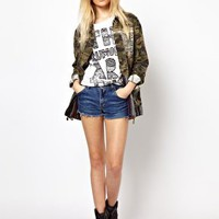 River Island Skull Embroidered Camo Jacket at asos.com
