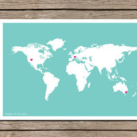 World Map And Country Love Art Print