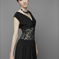 Black Cocktail Dress with lace bodiceMade to by decadentdesignz