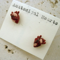Miniature ANATOMICAL HEART post/stud by littlecaloriegallery