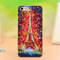 Oil Painting Eiffel Tower Relief Hard Cover Case Iphone 5