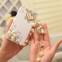 rhinestone handmade love ball case for iphone4/4s