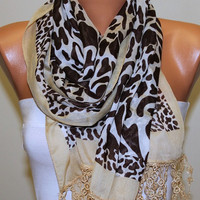 Leopard  Scarf   Cotton Scarf Headband Necklace Cowl by fatwoman/94034219/