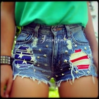 High waisted American flag studded denim shorts by Jeansonly