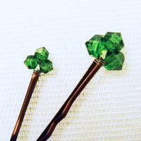 Shamrock Hair Pin PAIR  Green Crystal Swarovski by embellishingyou