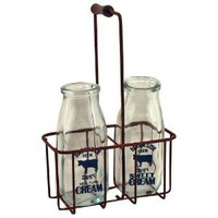 Vintage Cream Bottles W/Carrier