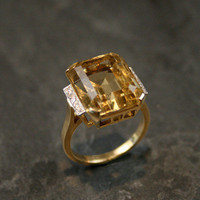 Vintage Citrine & Diamond Cocktail Ring by Ruby Gray's | Ruby Gray's Antique & Vintage Rings