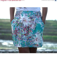 ON SALE Turquoise Floral Mini Shirred Skirt with 2 side pockets