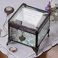 Mother's Day Gifts - Personalized Vintage Glass Jewelry Box With Custom Poem
