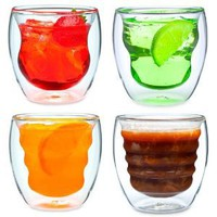 Curva Artisan Series Double Wall Beverage Glasses and Tumblers  Set of 4 Unique 8 oz Thermo Insulated Drinking Glasses