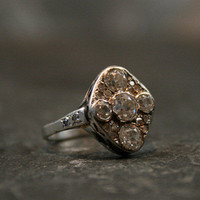 Edwardian Platinum &amp; Diamond Cluster Engagement Ring by Ruby Gray&#x27;s | Ruby Gray&#x27;s Antique &amp; Vintage Rings