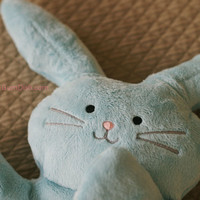 Plush Bunny Rabbit Blue Softie &quot;Flat Little Bunny Rabbit&quot;