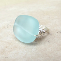 Aqua Sea Glass Ring:  Silver Wire Wrapped Beach Jewelry, Seafoam Green Spring & Summer Accessory, Size 8