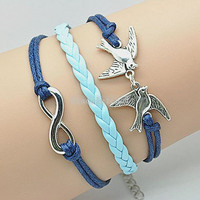 double swallow bracelet, infinity bracelets,personalized cute bracelet Friendship Gift  RSZ0102