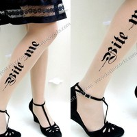 sexy HALLOWEEN BITE ME tattoo thighhigh stockings ULTRA by post