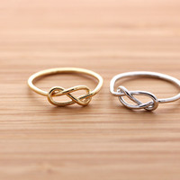 girlsluv.it - simple INFINITY knot ring, 2 colors