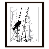 Black Bird Wall Art Print Home Decor Modern Woodland by AldariArt