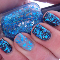 Glitter nail polish - &quot;Shattered Sapphire&quot; blue glitter nail polish - LAST BOTTLES