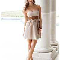 BELTED LINEN SWEETHEART TUBE DRESS