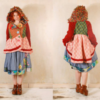 Hooded coat Patchwork jacket Woodland jacket Plaid jacket Gypsy coat Red green jacket Pixie jacket Spring coat Woman jacket Bohemian coat