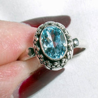 RING - Sterling Silver - Sky Blue TOPAZ -  GEMSTONE - Ornate - Size 6 - 925