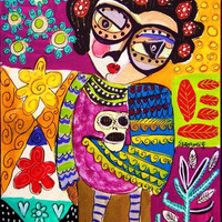 Day of The Dead Frida Owl  SILBERZWEIG by SandraSilberzweigArt
