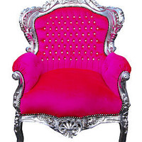 vintage style hot pink throne armchair by made with love