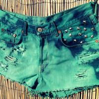 Vintage Lucky Denim High Waisted Shorts / Tie by UnraveledClothing