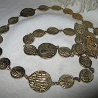 Vintage Faux Gold Coin Necklace or Belt