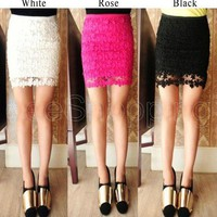 Women Crochet Embroidery Floral Lace Double Layer Lining Mini Short Skirt Dress