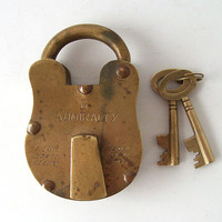 vintage brass padlock with skeleton keys works lock locking metal antique old retro mens accessories accessory
