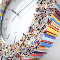 clock wall art made from recycled magazines by colorstorydesigns