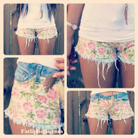 low rise cut off shorts, made to order. Floral print and frayed