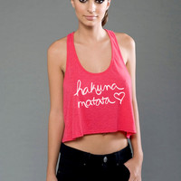 Hakuna Matata Crop Top Eco Fashion Pima Cotton Modal Fabric Racerback Tank Top
