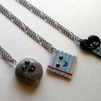 Rock Paper Scissors 3 Piece Best Friend Necklace Set