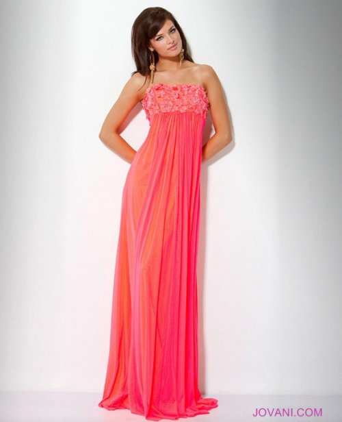 Strapless Dress with Floral Applique Style 15326