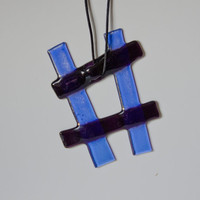 blue fused glass suncatcher wall art by eyeseesage on Etsy