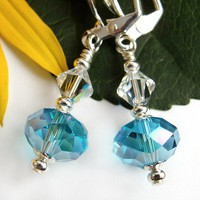 Blue Glass Dangle Earrings, Swarovski Crystals, Leverbacks, Aquamarine