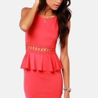 Waistin' Time Coral Red Peplum Dress