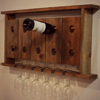 Wine Rack Cedar Barnwood Wall Hanging Wine Glass Holder Spring