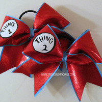 Thing 1 and Thing 2 Large Cheer Bow Hair Bow by SparkleBowsCheer