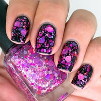 Nail polish - &quot;Super Vixen&quot; purple and pink glitter in a clear base - new 12 ml bottle
