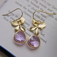 Sale. Gold Orchid Lilac Glass Drop Earrings. Wedding Jewelry