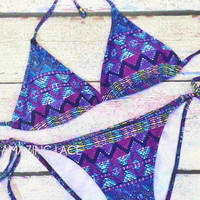 SoCal Aztec Bikini Tribal Neon Purple