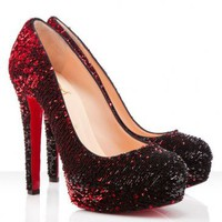 Christian Louboutin Bianca 140mm Paillette Pumps Red