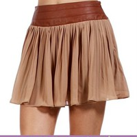 SALE-Beige Pleated Skirt