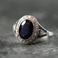 French Art Deco Sapphire & Diamond Engagement Ring