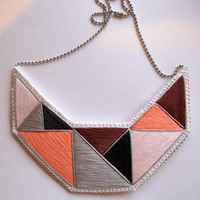 Bib geometric necklace embroidered in beautiful Fall and Winter colors